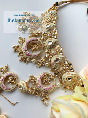 Vanilla Bean in Cream, Necklace Sets - THE KUNDAN SHOP
