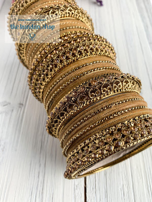 Cream Velvet & Bronze Bangle Set Bangles THE KUNDAN SHOP