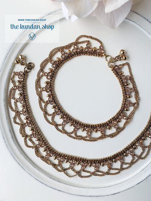 Polki & Chain Anklets, Anklets - THE KUNDAN SHOP