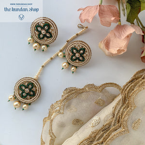 Cross My Heart - Green, Earrings + Tikka - THE KUNDAN SHOP