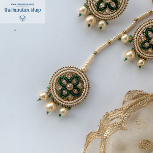 Cross My Heart - Green, Earring + Tikka - THE KUNDAN SHOP