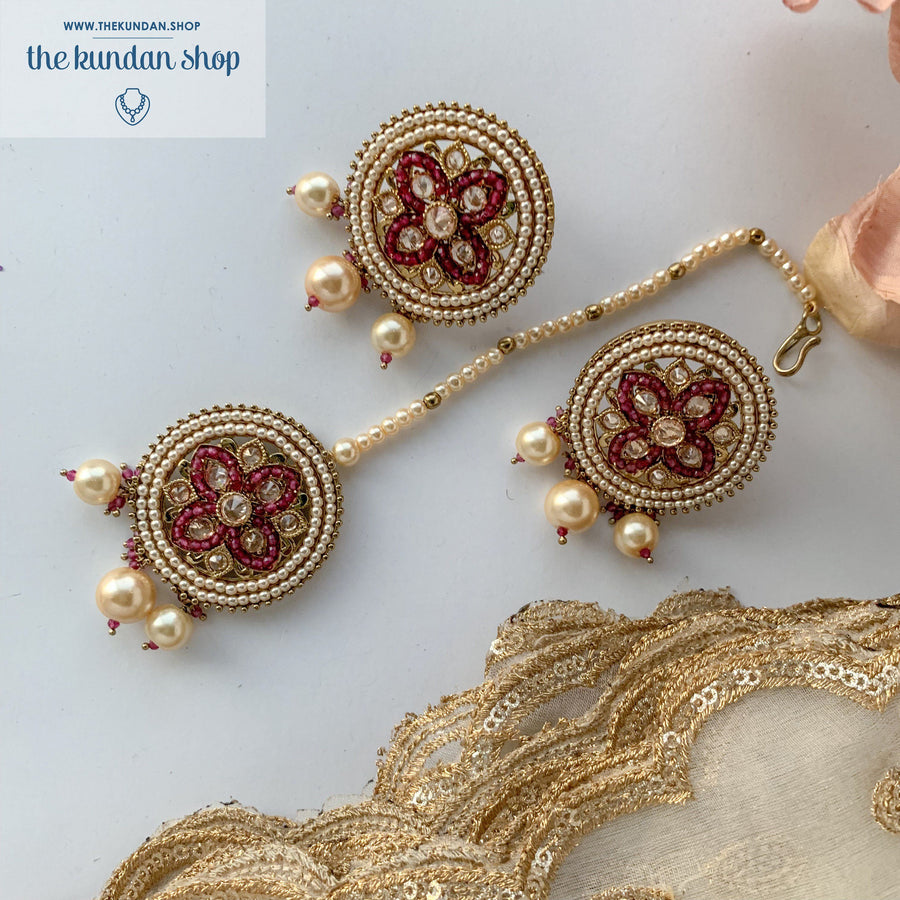 Cross My Heart - Ruby, Earring + Tikka - THE KUNDAN SHOP