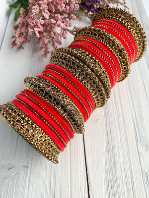 Dark Coral Velvet & Bronze Bangle Set Bangles THE KUNDAN SHOP