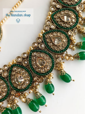 Ideal in Dark Green Necklace Sets THE KUNDAN SHOP