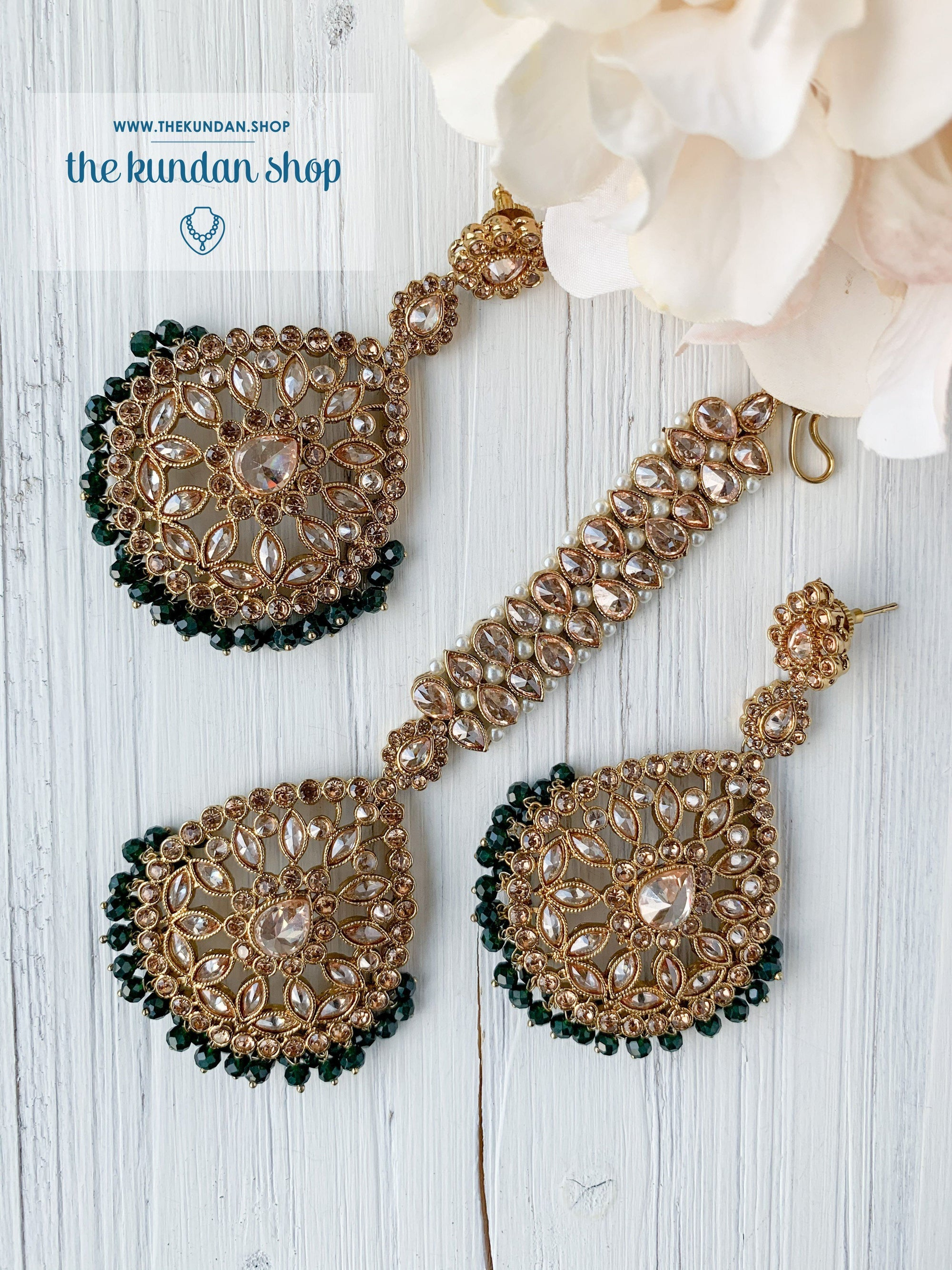 Infinite Love in Dark Green Earrings + Tikka THE KUNDAN SHOP