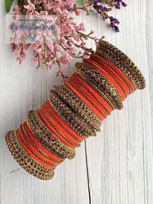 Dark Peach Velvet & Bronze Bangle Set Bangles THE KUNDAN SHOP