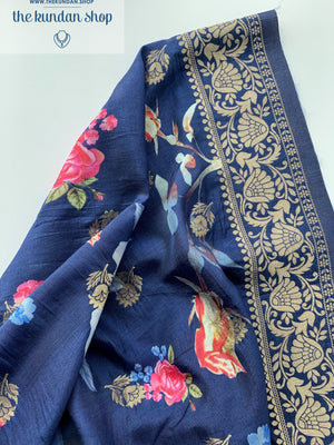 Banarsi Floral - Dark Blue, Dupatta - THE KUNDAN SHOP