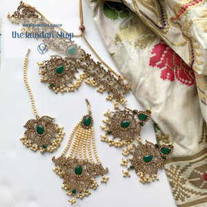 Gothic Stones - Green, Necklace Sets - THE KUNDAN SHOP