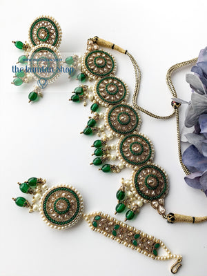 Spirited in Green, Necklace Sets - THE KUNDAN SHOP