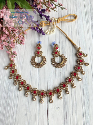 A Love of Polki in Dark Pink Necklace Sets THE KUNDAN SHOP