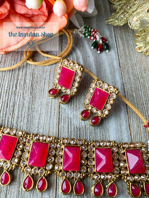 About Last Night - Dark Pink, Necklace Set - THE KUNDAN SHOP