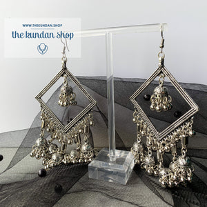 Silver Series - Diamond Jumki, Earrings - THE KUNDAN SHOP