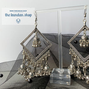 Silver Series - Diamond Jumki Earrings THE KUNDAN SHOP