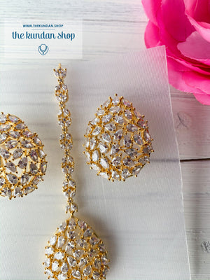Diamond in Gold Tears, Earrings + Tikka - THE KUNDAN SHOP
