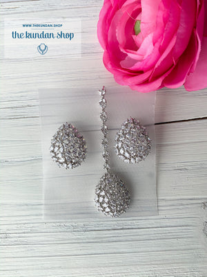 Diamond in Silver Tears, Earrings + Tikka - THE KUNDAN SHOP