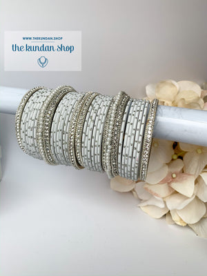 Pearl & Matte Grey Bangles, Bangles - THE KUNDAN SHOP