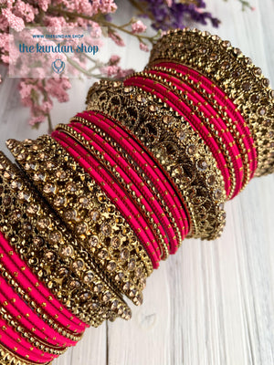 Dotted Pink & Bronze Bangle Set Bangles THE KUNDAN SHOP