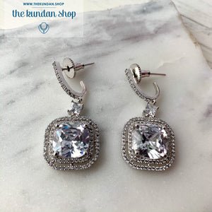 Silver drop, Earrings - THE KUNDAN SHOP