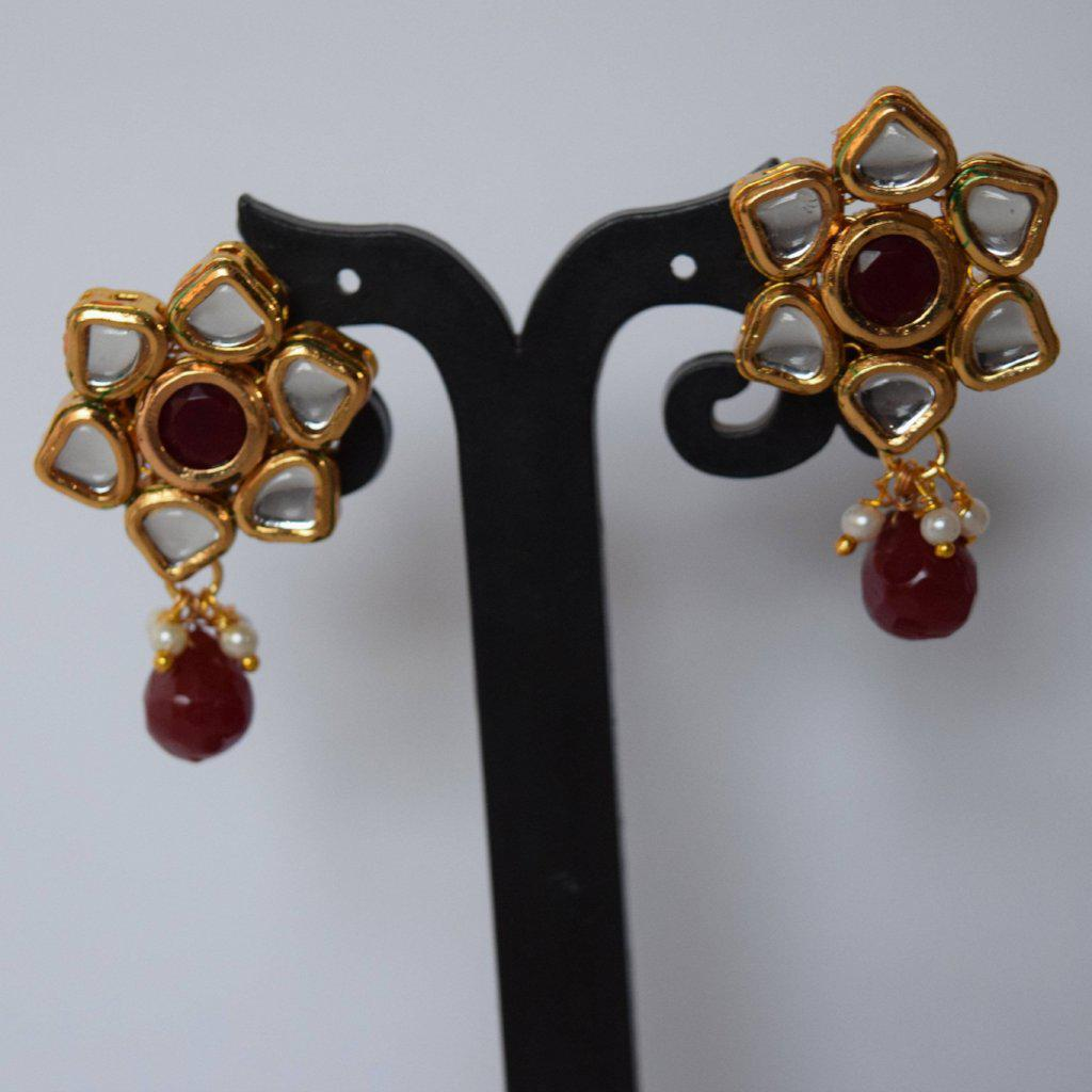 Ruby Flower Kundan Studs, Earrings + Tikka - THE KUNDAN SHOP