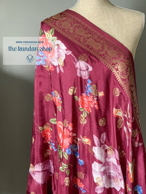 Banarsi Floral - Wine Purple, Dupatta - THE KUNDAN SHOP