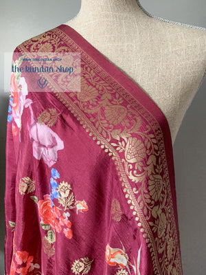 Banarsi Floral - Wine Purple Dupatta THE KUNDAN SHOP