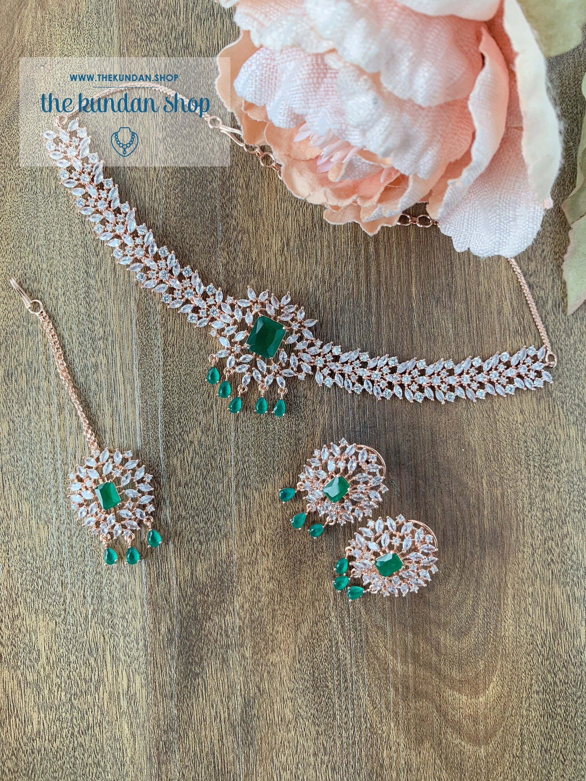Captivate in Rose Gold Emerald Necklace Sets THE KUNDAN SHOP