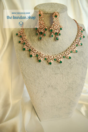 Angelic in Rose Gold & Emerald Necklace Sets THE KUNDAN SHOP