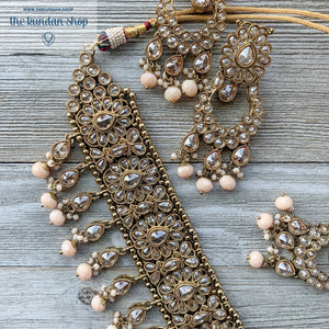 Empowered - Peach, Necklace Sets - THE KUNDAN SHOP