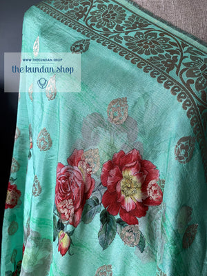 Banarsi Floral - Green, Dupatta - THE KUNDAN SHOP