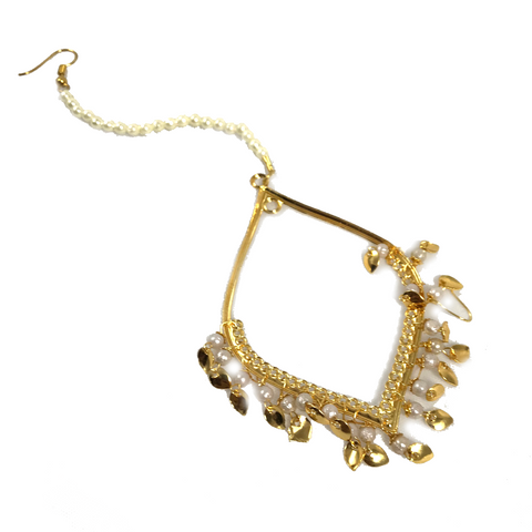 Gold Diamon', Earrings + Tikka - THE KUNDAN SHOP
