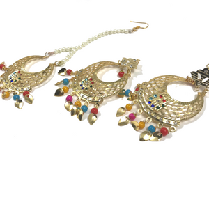 Colour Me Perfect, Earrings + Tikka - THE KUNDAN SHOP