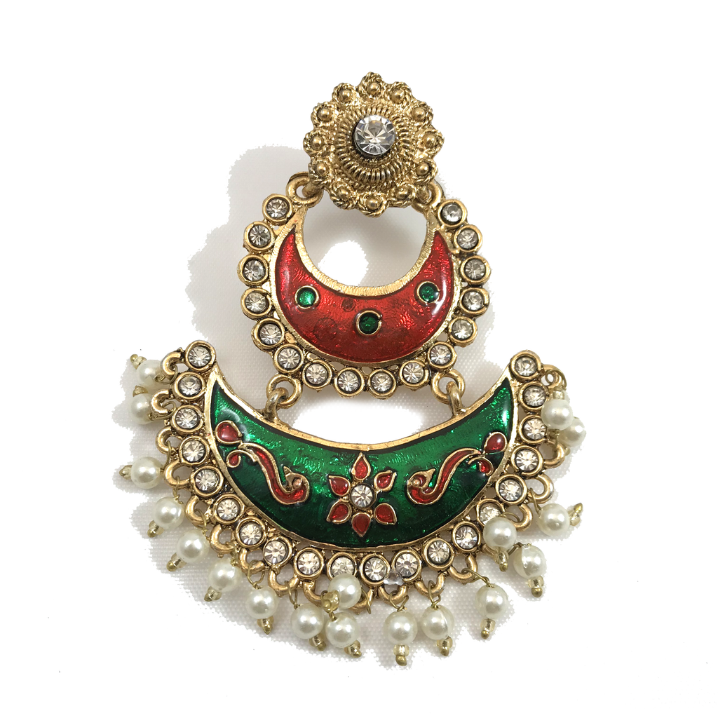 Hand-painted Christmas, Earrings + Tikka - THE KUNDAN SHOP