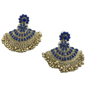 Navy, Earrings + Tikka - THE KUNDAN SHOP