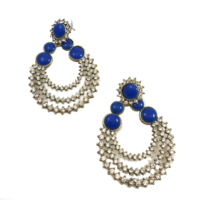 Blue Diamond, Earrings + Tikka - THE KUNDAN SHOP