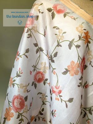 Classic Floral - Light Grey, Dupatta - THE KUNDAN SHOP
