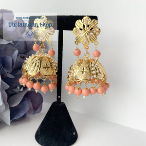 Floral Jadau Jumki -  Peach, Earrings - THE KUNDAN SHOP