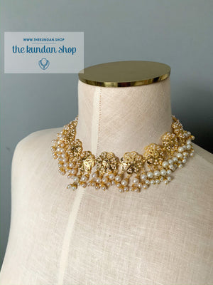 Flower Fields in Pearl - Necklace Only, Necklace Sets - THE KUNDAN SHOP