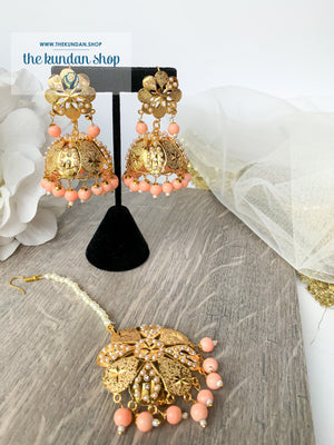 Floral Jadau Jumki -  Peach, Earrings + Tikka - THE KUNDAN SHOP