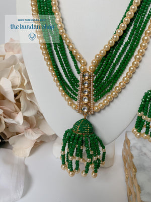 Tassel Dreams - Forest Green Necklace Sets THE KUNDAN SHOP
