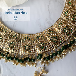 Gleaming in Pearls - Green Jadau Set, Necklace Sets - THE KUNDAN SHOP
