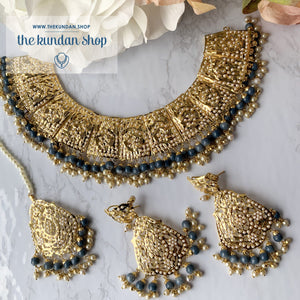 Gleaming in Pearls - Grey Jadau Set, Necklace Sets - THE KUNDAN SHOP