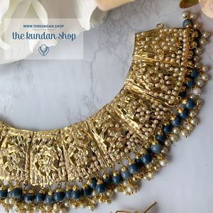 Gleaming in Pearls - Grey Jadau Set Necklace Sets THE KUNDAN SHOP