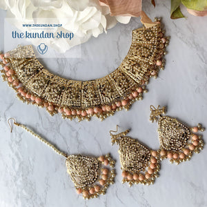 Gleaming in Pearls - Peach Jadau Set, Necklace Sets - THE KUNDAN SHOP