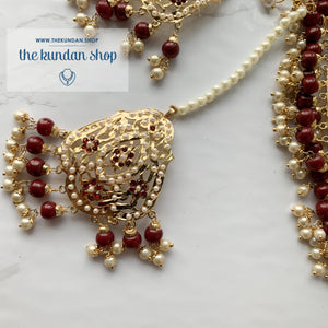 Gleaming in Pearls - Ruby Jadau Set, Necklace Sets - THE KUNDAN SHOP