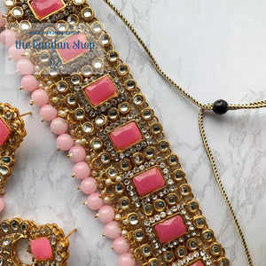 Troublemaker - Bubblegum Pink, Necklace Set - THE KUNDAN SHOP
