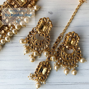 Troublemaker - Champagne, Necklace Set - THE KUNDAN SHOP