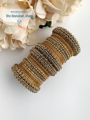 Dotted Bangle Set in Pearl & Gold Bangles THE KUNDAN SHOP
