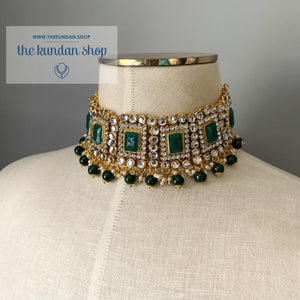 Troublemaker - Green Necklace Set THE KUNDAN SHOP