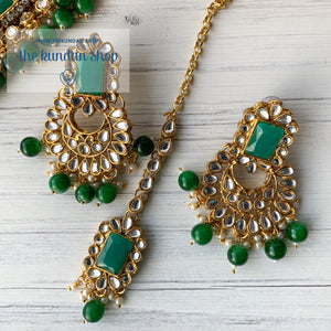 Troublemaker - Green Necklace Set THE KUNDAN SHOP Without Sahara