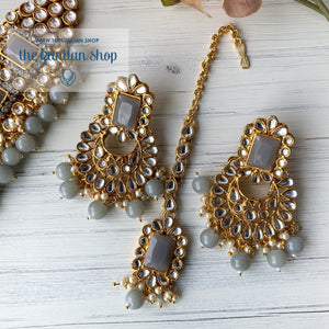 Troublemaker - Grey Necklace Set THE KUNDAN SHOP